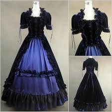 2 piece blue velvet colonial dress clothing cosplay masquerade