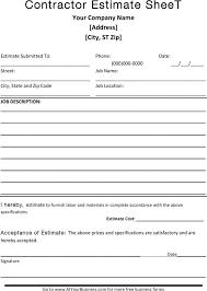 Estimate Sheet Templates Free Estimate Sheet Cv01 Billybullock Us