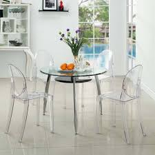 Clear Dining Room Table Modway Casper Stackable Dining Side Chair Set Of 4 In Clear