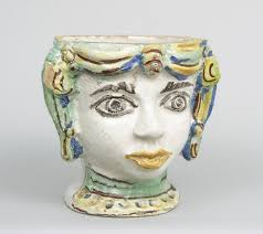Face Planter A Majolica Glazed Ceramic Planter In The Form Of A Head 19th