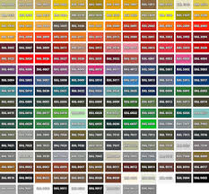 100 paint colour codes ral bodywork and glass roller