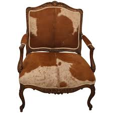 Armchair Upholstered Large French Louis Xv Carved Oak Armchair Upholstered In Horse