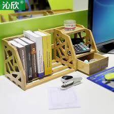 Small Desk Bookshelf Bamboo Retractable Shelves Desktop Bookshelf Desk Office Bookcase
