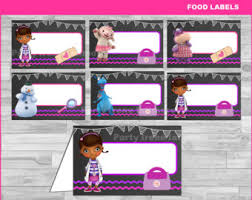 doc mcstuffins party food labels instant download doc