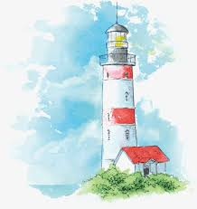 lighthouse vector watercolor hand painted color png and vector