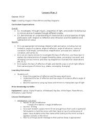 lesson plan 3 snc2p physics reflection physics lens optics