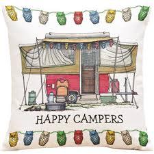 cushion happy camper cotton linen cotton linen home decorative
