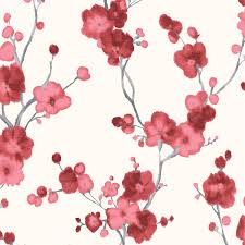 minimalist blossoms floral wallpaper red and white walls republic