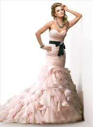 black sash sweetheart layered blush pink organza wedding dress with black sash