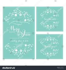 Wedding Invitations And Rsvp Cards Together Wedding Invitation Thank You Card Save Stock Vector 129380315