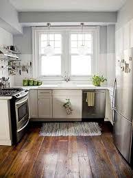 kitchen shabby chic interior of small kitchen with teak floor