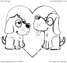 cartoon clipart of a black and white pair of dogs in love over a