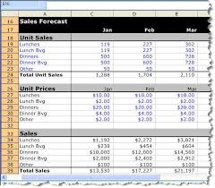 Sales Spreadsheets by A Detailed Sle Restaurant Sales Forecast Bplans