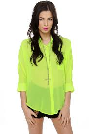 neon blouse neon yellow top sheer top button up top 35 00