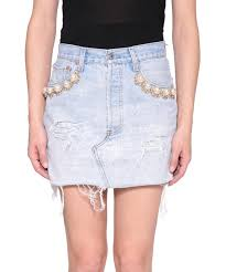 cotton skirt forte couture denim cotton skirt with pearls lindelepalais 92863