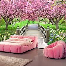 cherry blossom bedroom photo wallpaper romantic cherry blossom wooden bridge nature mural