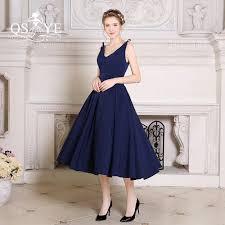 tea length dress navy blue tea length satin formal evening dresses 2017 vestidos v