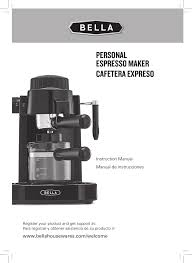 espresso maker bella 13683 espresso maker user manual 20 pages