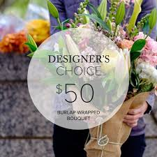 san francisco flower delivery seasonal burlap wrapped bouquet designer s choice in san
