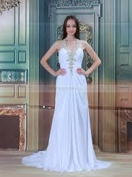 beaded halter chiffon a line wedding dress with unique back design