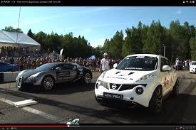 bugatti vs nissan juke r vs bugatti veyron ugr lambo and 599 gto on
