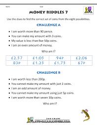 money worksheets for kids money riddles uk