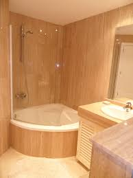 Design Bathroom by Perfect Corner Tub With Shower And Glass Half Door Very Cool