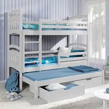 chambre avec lit superposé lit superposé iii avec lit gigogne 3 couchages blanc
