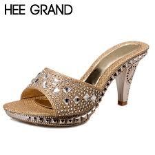Rhinestone Sandal Heels Hee Grand Women Elegant 2017 Summer Slides Thick High Heel