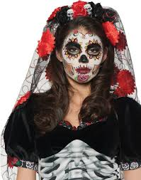 day of the dead zombie halloween mask day of the dead mantia sugar skull rose headband with veil