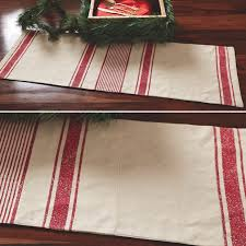 Farmhouse Table Runner Cotton Linen Red Striped Table Runner Antique Farmhouse