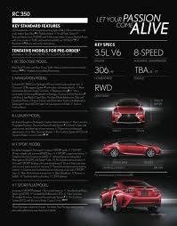 lexus rc awd price 2015 lexus rc 350 u0026 rc 350 f sport pre order brochure released