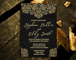 black and gold wedding invitations black gold invite etsy
