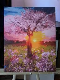nature tree of easy diy paint by numbers kit on