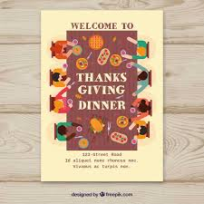 thanksgiving poster with at table vector free