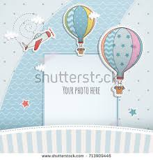 baby shower paper card design balloon plane baby stock vector 713909446