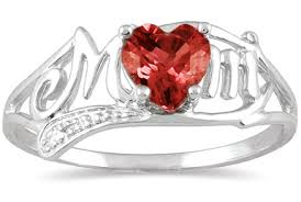 white gold mothers ring garnet heart ring with diamonds in 10k white gold