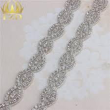 popular crystal chain trim buy cheap crystal chain trim lots from 1 yard clear rhinestone crystal trimming appliques chain sew on bridal dress sash belt motif beads