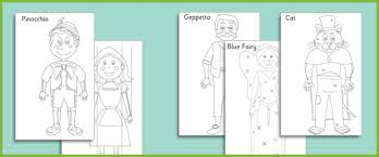 pinocchio colouring sheets free early u0026 primary teaching