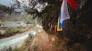 Small Prayer Flags Breathtaking View Of Dudh Kosi River From Suspension Bridge And
