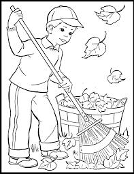 vintage boy raking leaves coloring pages vintage