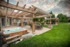 outdoor living cozy patio pergola idea with wooden outdoor floor