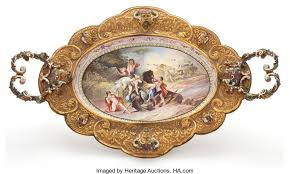 viennese enamel two handled tray with enameled applied ornament