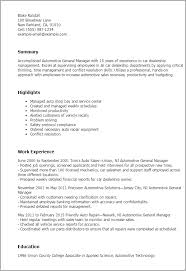 General Manager Resume Template Professional Automotive General Manager Templates To Showcase Your
