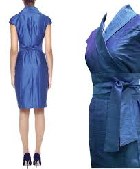 silk wrap dress in kimono style in cornflower dupioni wildsilk