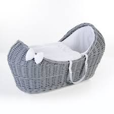 buy ginnini grey wicker pod moses basket waffle white