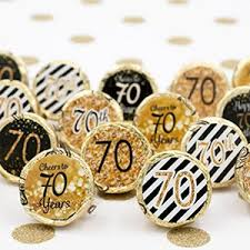 Amazon 70th Birthday Party Favor Stickers Gold and Black