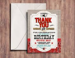 thank you card vintage cowboy invitation boy birthday