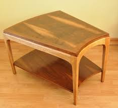 End Table With Shelves by Brown Wood Wedge End Table With Shelf For Decorative Items Of 11