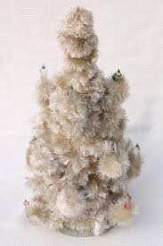 tree tabletop white chenille feather tree early electric